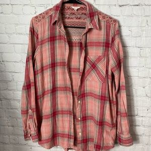 Aeropostale  pink plaid button up flannel